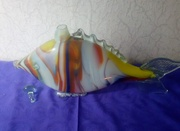 Графин в виде рыбы,  цветное стекло,  винтаж СССР